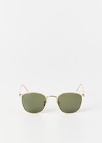 Linda Farrow yellow gold / solid green sunglasses