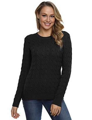 Lynz Pure Women's Crewneck Sweater Classic Comfy Long Sleeve Cable Knit Pullover Jumper Sweater Tops M