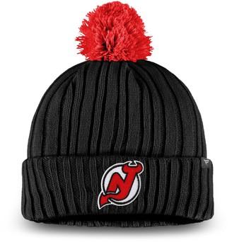 Key Stone Men's Fanatics Branded Black New Jersey Devils Keystone Cuffed Knit Hat with Pom