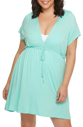 Dotti Plus Size Resort Solids Hoodie Swim Cover-Up