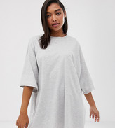 Weekday huge t-shirt dress in gray melange