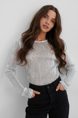 NA-KD Sequin Round Neck Top