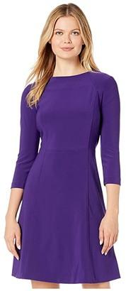 Lauren Ralph Lauren Bonded Matte Jersey Greer 3/4 Sleeve Day Dress (Regal Plum) Women's Clothing