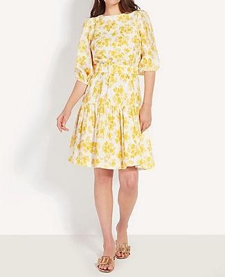 Ann Taylor Citrus Blossom Belted Flounce Shift Dress