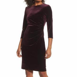 Brinker & Eliza Women's Side Ruched Velvet Sheath Dress (Regular & Petite)