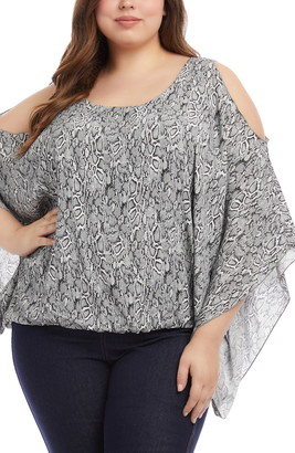 Karen Kane Cold Shoulder Scarf Sleeve Top