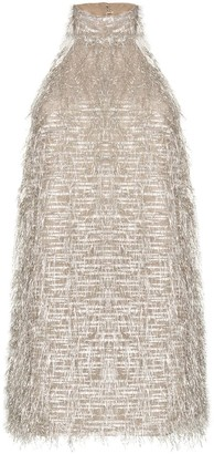 Taller Marmo Metallic Fringe Halterneck Mini Dress