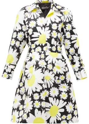 Richard Quinn Belted Daisy-print Duchess Satin Coat - Womens - Black Yellow