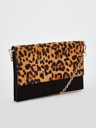 Very Kristina Double Gusset Clutch Bag - Leopard