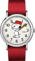 Timex Women's Casual x Peanuts – Snoopy TW2R41400JT White Dial and Red Nylon Band Watch