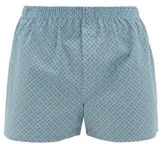 Sunspel Cotton Plant Print Cotton Boxer Shorts - Mens - Light Blue