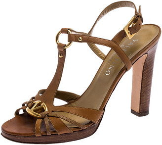 Valentino Brown Leather Logo Embellished Peep Toe Strappy Open Toe Sandals Size 37