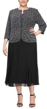 Alex Evenings Plus Size Metallic-Knit Jacket & Dress Set