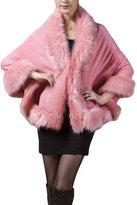 PLAER Women Ladies Girls Cape Coat Faux Fur Knitwear Pounch Cloak Shawl