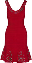 Herve Leger Blakely Eyelet-Embellished Pleated Bandage Mini Dress