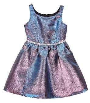 Ally B Girl's Sleeveless Metallic Fit-and-Flare Dress