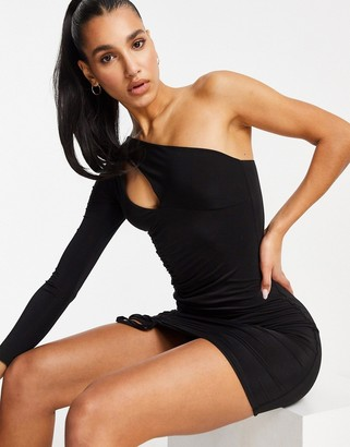 Club L London slash neck one shoulder ruched mini dress in black