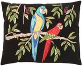 Loretta Caponi Embroidered Parrot Wool Pillow