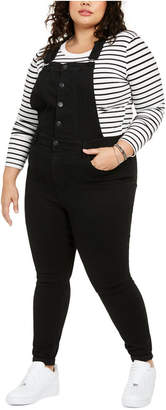 Celebrity Pink Trendy Plus Size Ripped Skinny Overalls