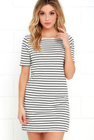 LuLu*s Law Bender Black and Ivory Striped Dress
