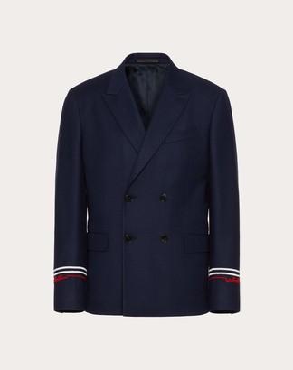 Valentino Redbroidery Double-breasted Jacket Man Navy/ Red Virgin Wool 99%, Elastane 1% 44