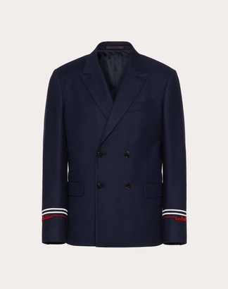 Valentino Redbroidery Double-breasted Jacket Man Navy/ Red Virgin Wool 99%, Elastane 1% 46
