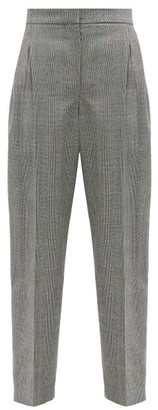 Alexander McQueen Prince Of Wales-check Wool-blend Twill Trousers - Grey