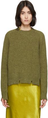Maison Margiela Green Destroyed Crewneck Sweater