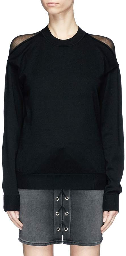 Alexander Wang 'Peel Away' sheer back yoke Merino wool sweater