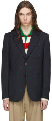 Gucci Navy Fancy Elements Print Blazer