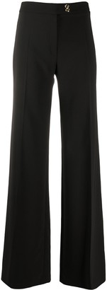 Elisabetta Franchi Flared Front Pleated Trousers
