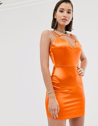 Katch Me Katchme satin mini dress with strappy back detail in orange