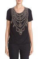 Marchesa Women's Embellished Crepe Top