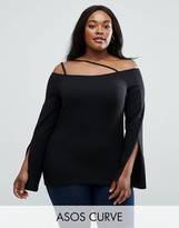 Asos Off Shoulder Top With Sexy Split Sleeves