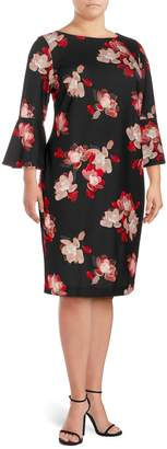 Calvin Klein Collection Plus Printed Bell-Sleeve Dress