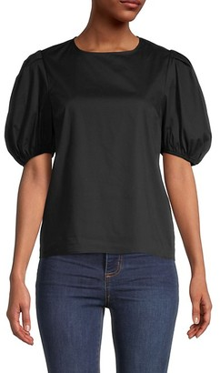 Love...Ady Puffed-Sleeve Stretch-Cotton Top