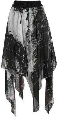 Sacai Map Print Asymmetric Skirt