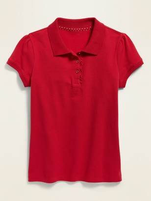 Old Navy Uniform Ruffled-Placket Short-Sleeve Polo for Girls