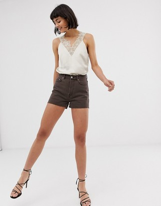 And other stories & raw hem denim shorts in brown