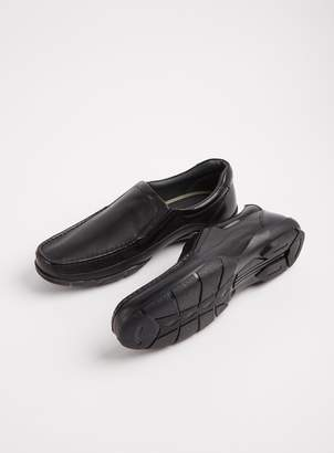 Tu Sole Comfort Black Leather Slip On Wide Fit Wallabee Shoes -