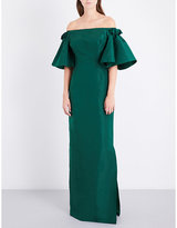 Oscar de la Renta Off-the-shoulder silk-satin gown