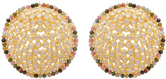 Carousel Jewels Statement Sliced Crystal Studs With Gemstone Border