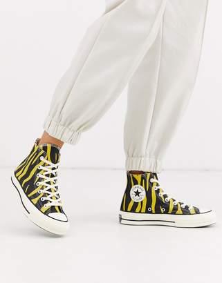 Converse Chuck 70 Hi Yellow Zebra Print Sneakers