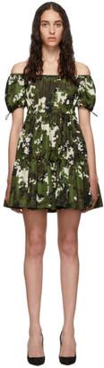 Miu Miu Green and Brown Camo Taffeta Dress