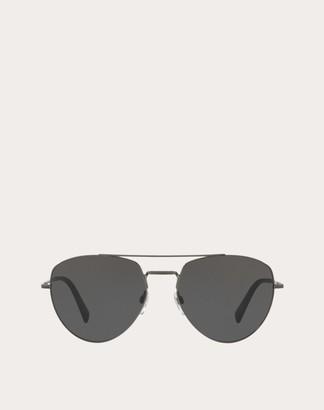 Valentino Aviator Metal Sunglasses Man Black Metal OneSize