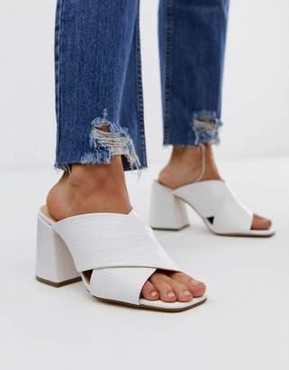 Office Mansion white croc chunky block heel sandals