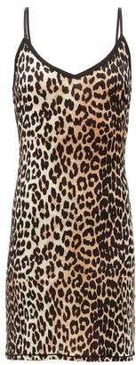 Ganni Leopard-print Jersey Mini Dress - Leopard