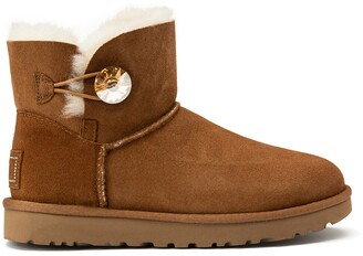 UGG Suede Ankle Boots with Faux Fur Lining and Jewel