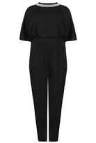 Quiz Curve Black Diamante Trim Jumpsuit
