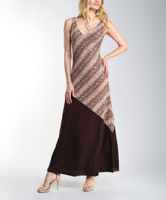 BEIGE Lbisse Women's Casual Dresses Brown - Brown & Snake Contrast Sleeveless Maxi Dress - Women